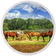 Horses At The Ranch Round Beach Towel