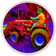 Round Beach Towel featuring the photograph Hot Afternoon On A John Deere Tractor by George Pedro