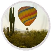 Hot Air Balloon In The Arizona Desert With Giant Saguaro Cactus Round Beach Towel
