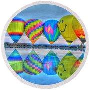 Hot Air Balloons At Eden Park Round Beach Towel