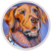 Hot Chocolate Lab Round Beach Towel