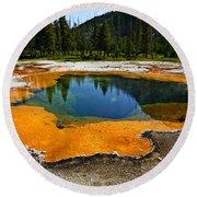 Hot Springs Yellowstone Round Beach Towel