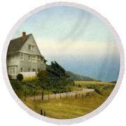 House With View Of The Ocean Round Beach Towel