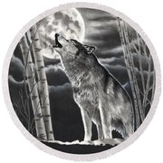 Howling At The Moon Round Beach Towel