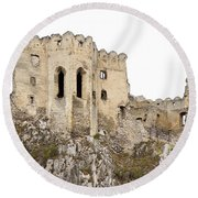 Round Beach Towel featuring the photograph Hrad Beckov Castle by Les Palenik