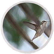 Round Beach Towel featuring the photograph Hummingbird by Donna  Smith