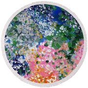 Round Beach Towel featuring the painting Hydrangeas I by Alys Caviness-Gober