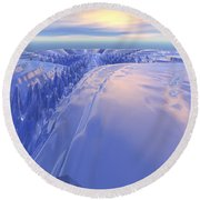 Round Beach Towel featuring the digital art Ice Fissure by Phil Perkins