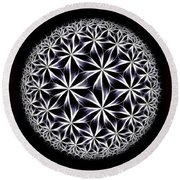 Ice Flowers Round Beach Towel