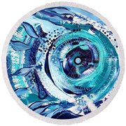 Icehole Fish Round Beach Towel
