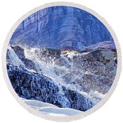 Round Beach Towel featuring the photograph Icy Cascade by Albert Seger
