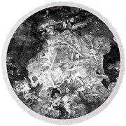 Round Beach Towel featuring the photograph Icy Road by Chalet Roome-Rigdon