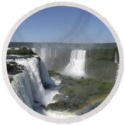 Round Beach Towel featuring the photograph Iguazu Falls by David Gleeson