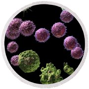 Round Beach Towel featuring the digital art Immune Response Cytotoxic 2 by Russell Kightley