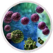 Round Beach Towel featuring the digital art Immune Response Cytotoxic 3 by Russell Kightley