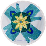 Round Beach Towel featuring the painting Impression by Sonali Gangane