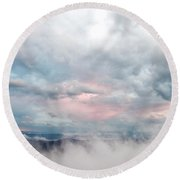 In The Clouds Round Beach Towel by Jeannette Hunt