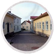 In The Old Town With New Possibilities Round Beach Towel