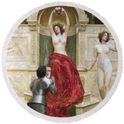 In The Venusburg Round Beach Towel by John Collier