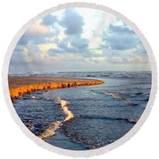 Round Beach Towel featuring the photograph Incoming Tide At Sundown by Will Borden