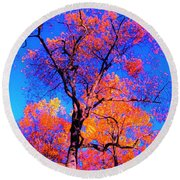 Indian Summer Autumn Scene  Round Beach Towel