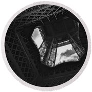 Round Beach Towel featuring the photograph Inside The Eiffel Tower by Eric Tressler
