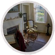 Round Beach Towel featuring the photograph Inside Yaquina Bay Lighthouse by Mick Anderson