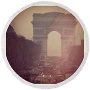 Instagram Photo - L'arc De Triomphe - Paris Round Beach Towel