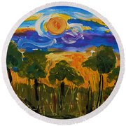 Intense Sky And Landscape Round Beach Towel