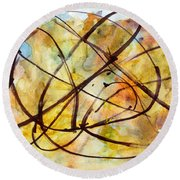 Inverno Abstract Watercolor Round Beach Towel