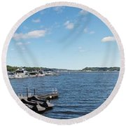 Round Beach Towel featuring the photograph Irondequoit Bay Panorama by William Norton