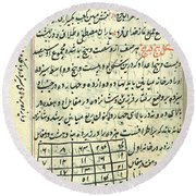 Islamic Magic Squares, 18th Century Round Beach Towel