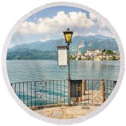 Island San Giulio On Lake Orta Round Beach Towel