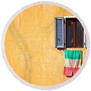 Italian Flag Window And Yellow Wall Round Beach Towel by Silvia Ganora