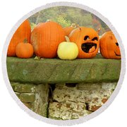 Round Beach Towel featuring the photograph Jack-0-lanterns by Lainie Wrightson