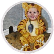 Round Beach Towel featuring the painting James-a-cat by Lori Brackett