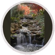 Waterfall In The Japanese Gardens, Ft. Worth, Texas Round Beach Towel