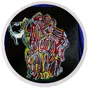 Round Beach Towel featuring the painting Japanese Opera - Noh by Gloria Ssali