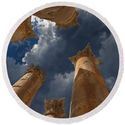 Round Beach Towel featuring the photograph Jerash by David Gleeson