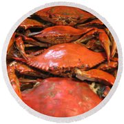 Crab Dinner Ocean Seafood  Round Beach Towel