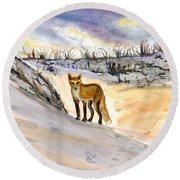 Round Beach Towel featuring the painting Jersey Shore Fox by Clara Sue Beym