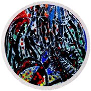Round Beach Towel featuring the painting Jesus Meets Mary On Calvary by Gloria Ssali