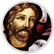 Round Beach Towel featuring the photograph Jesus The Good Shepard by Verena Matthew