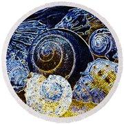 Abstract Seashell Art Round Beach Towel