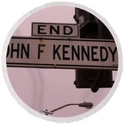 Jfk Street Round Beach Towel by Bill Owen