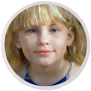 Portrait Of A Young Girl Round Beach Towel by Mark Greenberg