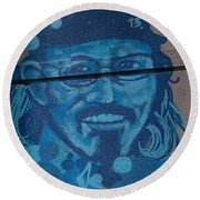 Johnny On The Wall Round Beach Towel by Carol Ailles