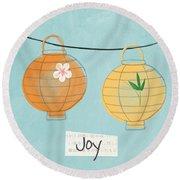 Joy Lanterns Round Beach Towel