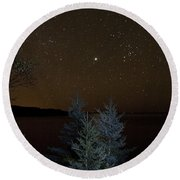 Jupiter  Over Otter Point 2 Round Beach Towel by Brent L Ander