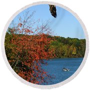 Round Beach Towel featuring the photograph Juvenile And Fishermen by Randall Branham